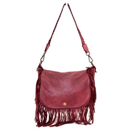 CAMILLA Shoulder Bag With Fringes Burgundy