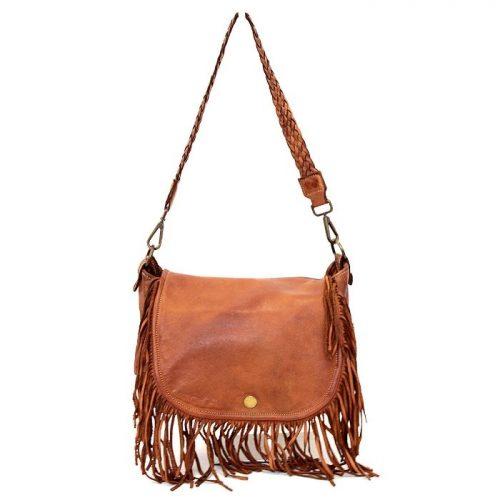 CAMILLA Shoulder Bag With Fringes Tan