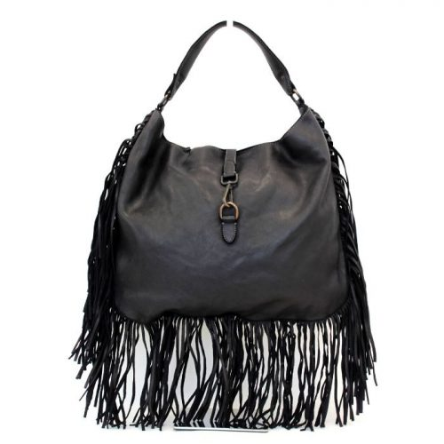 AMBRA Shoulder Bag With Fringes Black