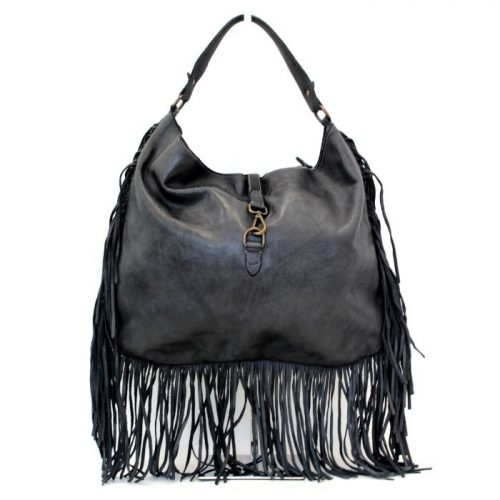 AMBRA Shoulder Bag With Fringes Dark Grey