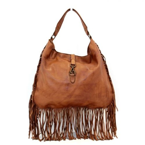 AMBRA Shoulder Bag With Fringes Tan