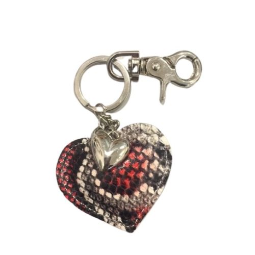 Snakeskin Heart Keyring Red And Black
