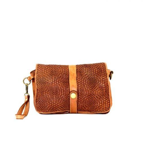 MARTINA Wave Weave Crossbody Bag Tan