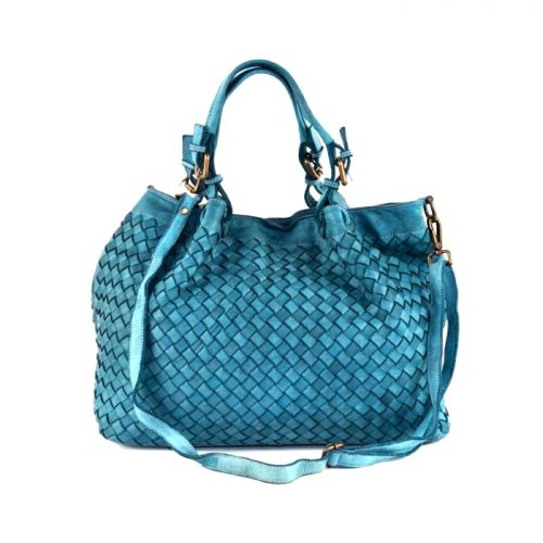 LUCIA Tote Bag Large Weave Teal
