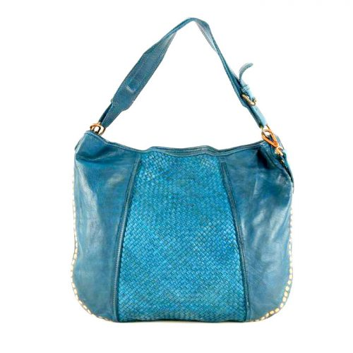 MONICA Woven Shoulder Bag With Studs Teal