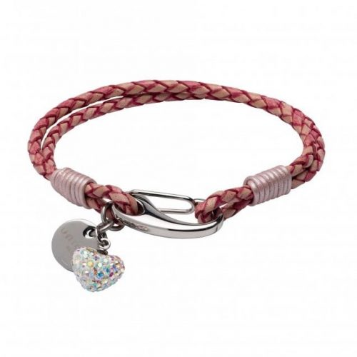 Unique & Co Women's Leather Bracelet With Crystal Heart And Charm In Antique Pink