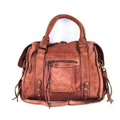 ISABELLA Hand Bag With Stitched Handle Terracotta