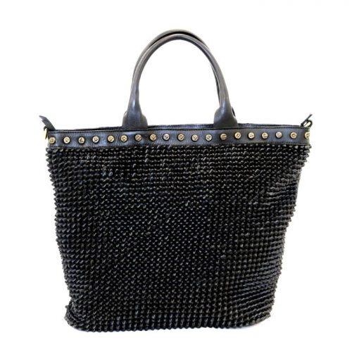 CHIARA Tote Bag Knot Weave Studs Black