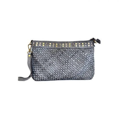 VALERIA Woven Wristlet Bag With Studs Light Grey