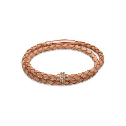 Unique & Co Women's Leather Bracelet Crystal Charm Natural
