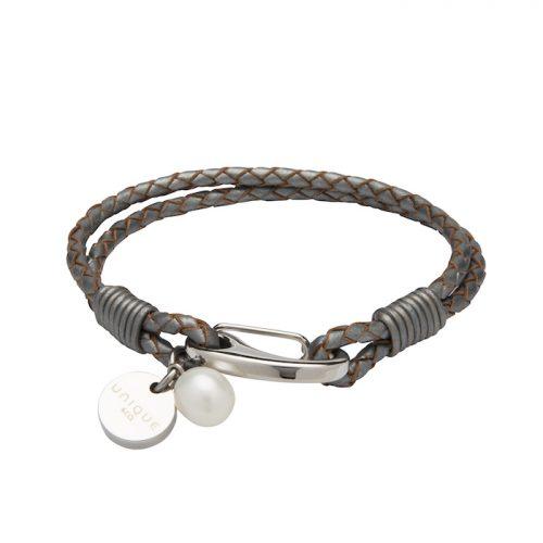 Unique & Co Women's Leather Bracelet Disc & Pearl Charm Grey