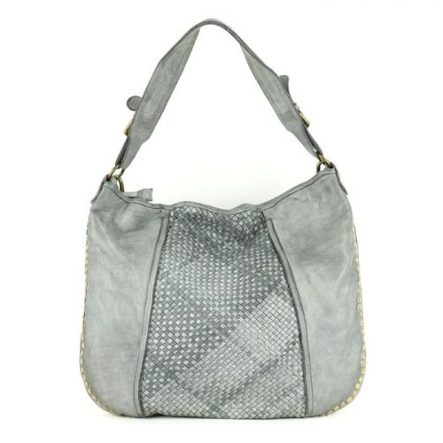 MONICA Shoulder Bag With Studs Light Grey