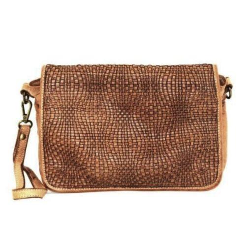 SILVIA Wave Weave Cross-body Bag Tan