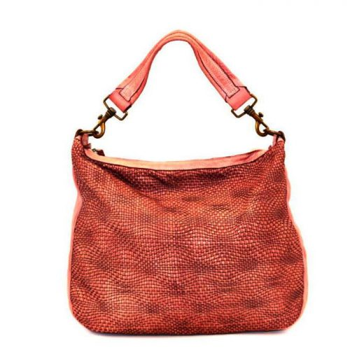 MELANIA Hobo Bag With Wave Weave Terracotta