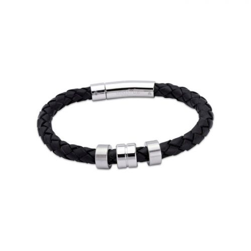 Unique & Co Men's Leather Bracelet Steel Elements Black