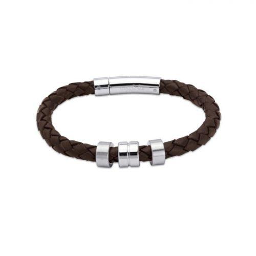 Unique & Co Men's Leather Bracelet Steel Elements Dark Brown
