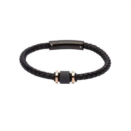 Unique & Co Men's Leather Bracelet With Steel/Rose Gold Elements Black