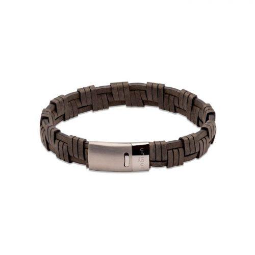 Unique & Co Men's Leather Bracelet Magnetic Clasp Antique Black