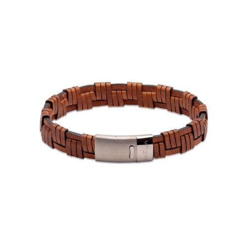 Unique & Co Men's Leather Bracelet Magnetic Clasp Antique Brown