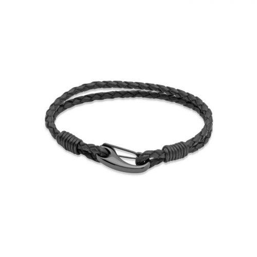 Unique & Co Men's Leather Bracelet Black Shrimp Clasp Black