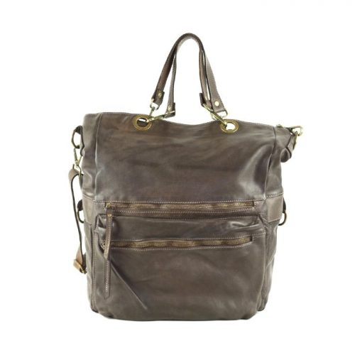 GINEVRA 2in1 Shopper/Crossbody Bag Dark Brown