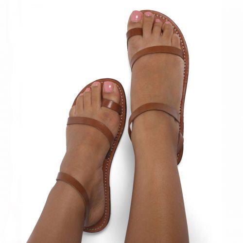 Ischia Leather Sandals – Tan