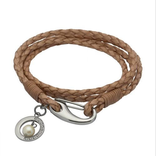 Unique & Co Women's Leather Bracelet With Jade Ball Charm Natural