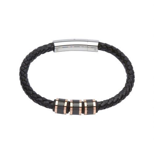 Unique & Co Men's Leather Bracelet With Three Black/Rose Gold Elements Black