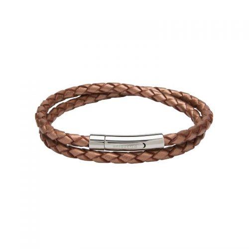 Unique & Co Women's Leather Bracelet With Steel Clasp Copper
