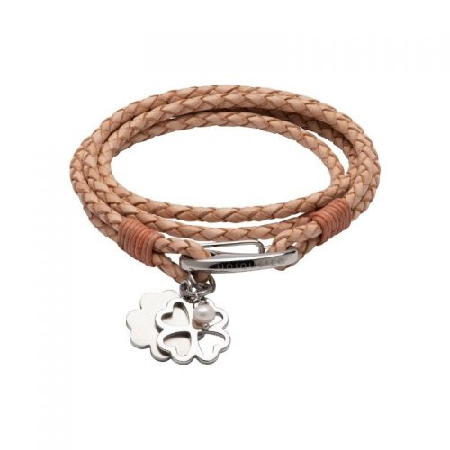 Unique & Co Women's Leather Bracelet With Clover Charms Natural