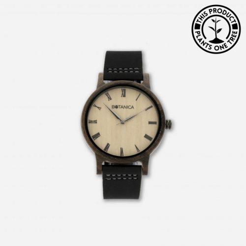 CEDAR Men's Wood & Leather Watch With Black Strap