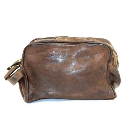 NICOLA Leather Wash Bag Dark Brown