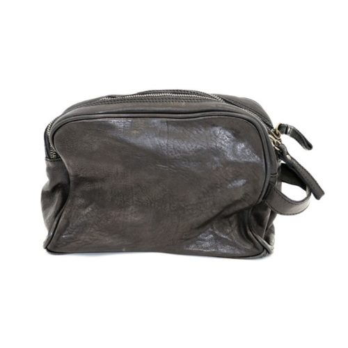 NICOLA Leather Wash Bag Black
