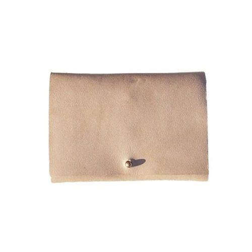 Leather Travel Wallet Beige