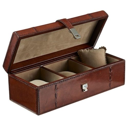 Leather Watch Box For Three Watches