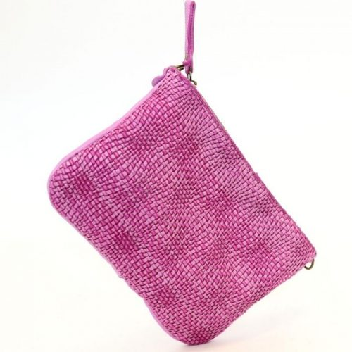 CLAUDIA Woven Wristlet With Wave Effect Fuchsia