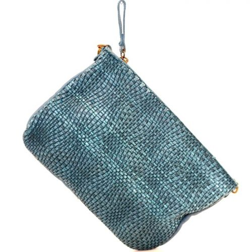 CLAUDIA Woven Wristlet With Wave Effect Teal