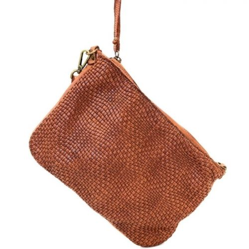 CLAUDIA Woven Wristlet With Wave Effect Terracotta