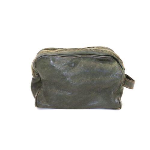 NICOLA Leather Wash Bag Army Green