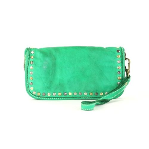 SIMONA Wrist Wallet With Studs Emerald Green