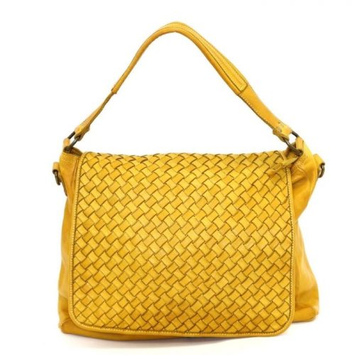 VIRGINIA Flap Bag With Wide Weave Mustard