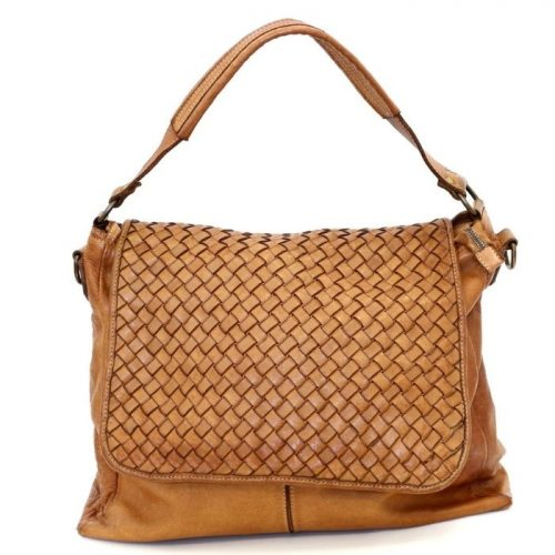 VIRGINIA Flap Bag With Wide Weave Tan