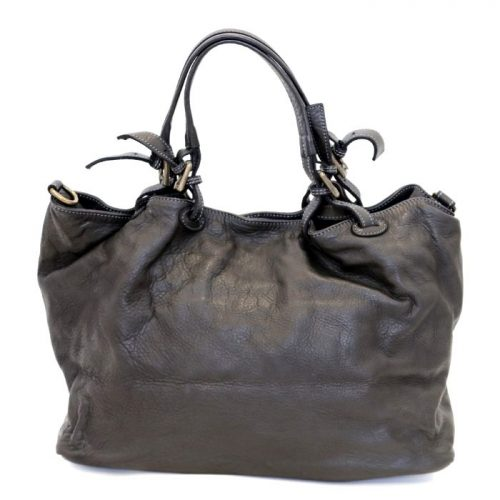 LUCIA Smooth Leather Tote Bag Black