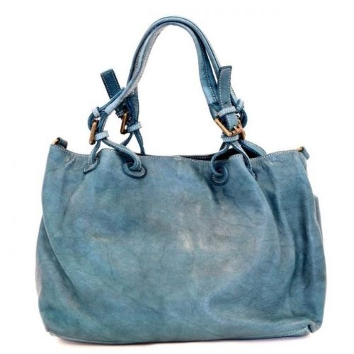 LUCIA Smooth Leather Tote Bag Teal