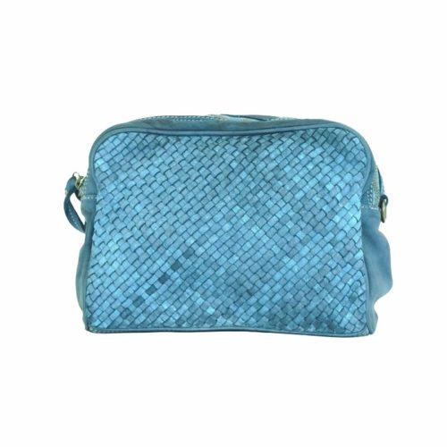 NICOLETTA Woven Crossbody Bag Teal