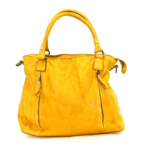 FLAVIA Square Handbag With 2 Zipped Pockets Mustard