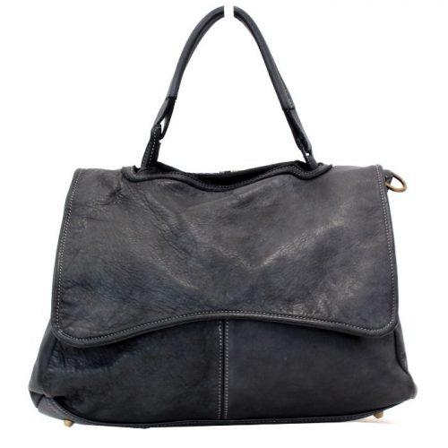 MIA Handbag With Curved Flap Black