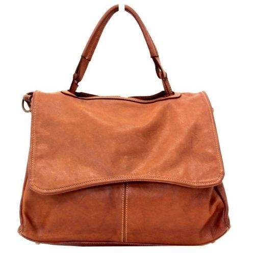 MIA Handbag With Curved Flap Tan