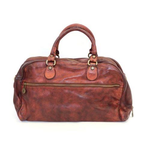 ANTHEA Leather Duffle Bag Bordeaux