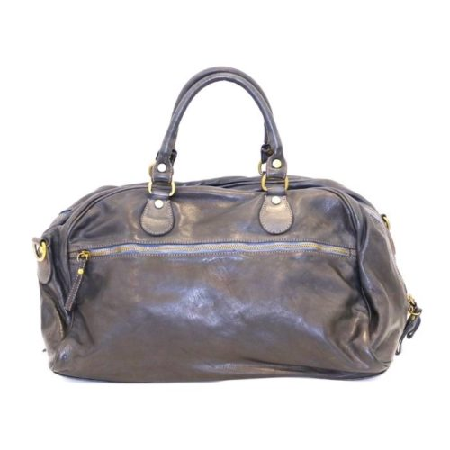 ANTHEA Leather Duffle Bag Navy